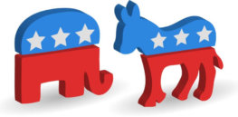 Illustration Republican Elephant Democrat Donkey