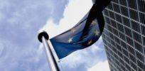 European flag outside the Commission e