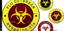 swine influenza pandemic outbreak warning tape plates labels and stickers with the biohazard symbol