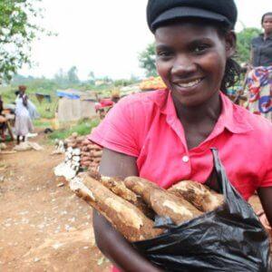 Uganda cassava market girl