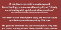 A warning for science teachers? Biotech scientists and the Freedom of Information Act