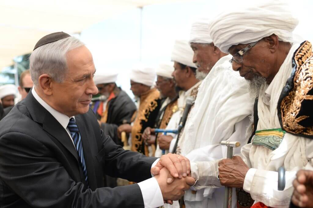 Benjamin Netanyahu (Prime Minister) with various leaders of the Ethiopian community celebrating Jerusalem Day