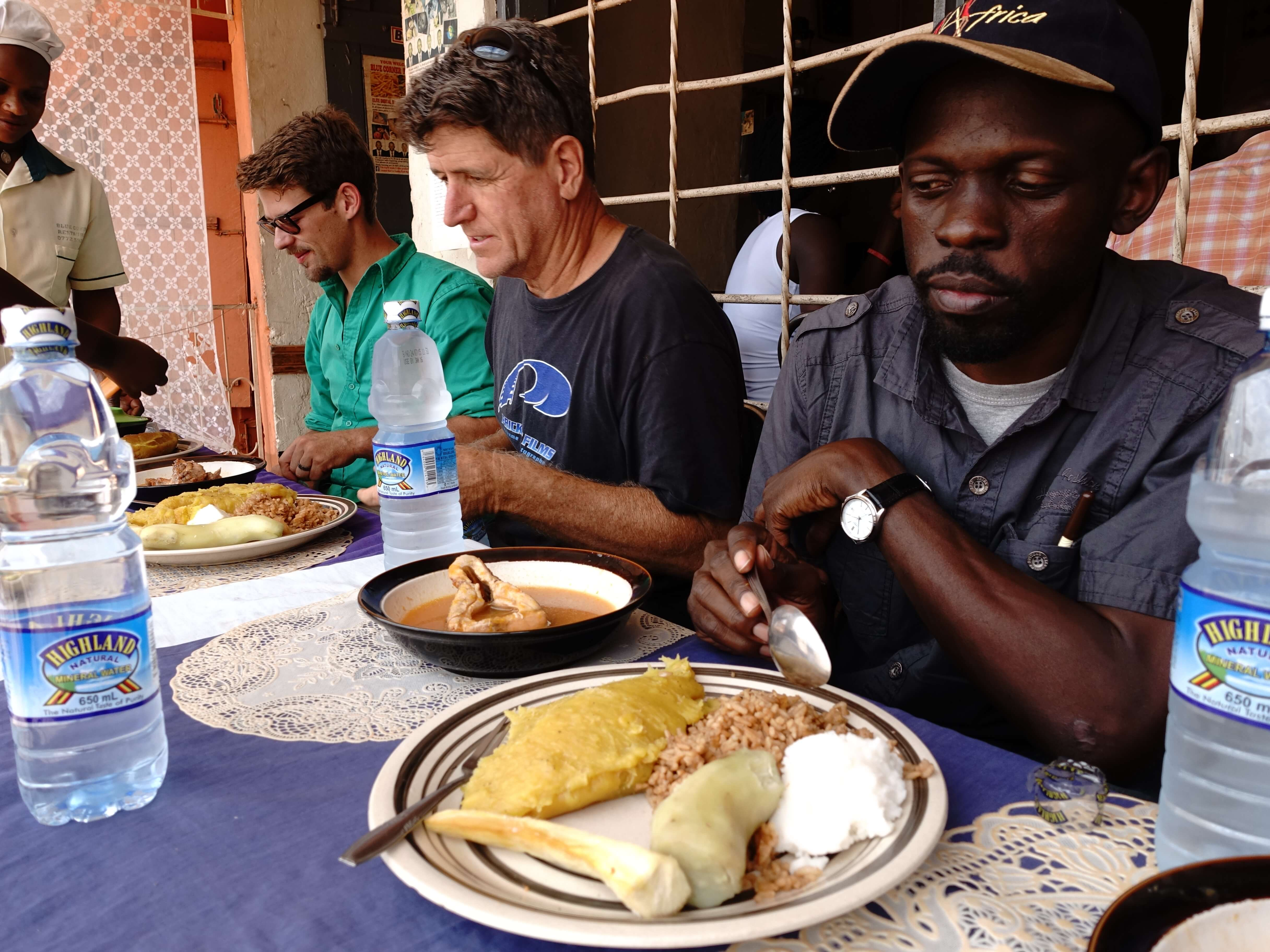 Crew has lunch with farmers.