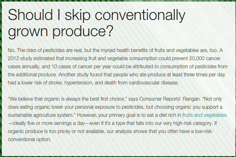 Consumer Report's disclaimer at the bottom of their special report on pesticides.