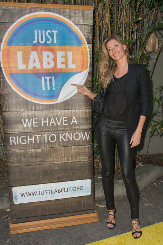 "Gisele Bündchen attends Just Label It's ""Conceal or Reveal"" campaign launch to show her support for mandatory GMO labeling held at Cliff's Edge on Monday, April 20, 2015, in Los Angeles. (Photo by Rob Latour/Invision/AP)"