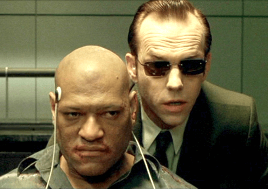 Agent Smith (back) and Morpheus (front)