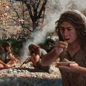 web C Neanderthals cooking vegetables artwork SPL