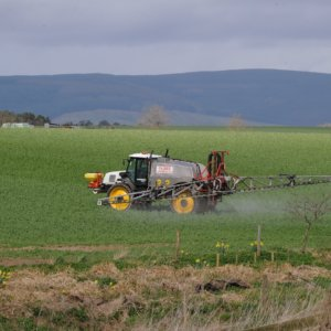 Fettercairn farm spraying crops