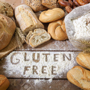 a gluten free breads on wood background Stock Photo bread gluten food