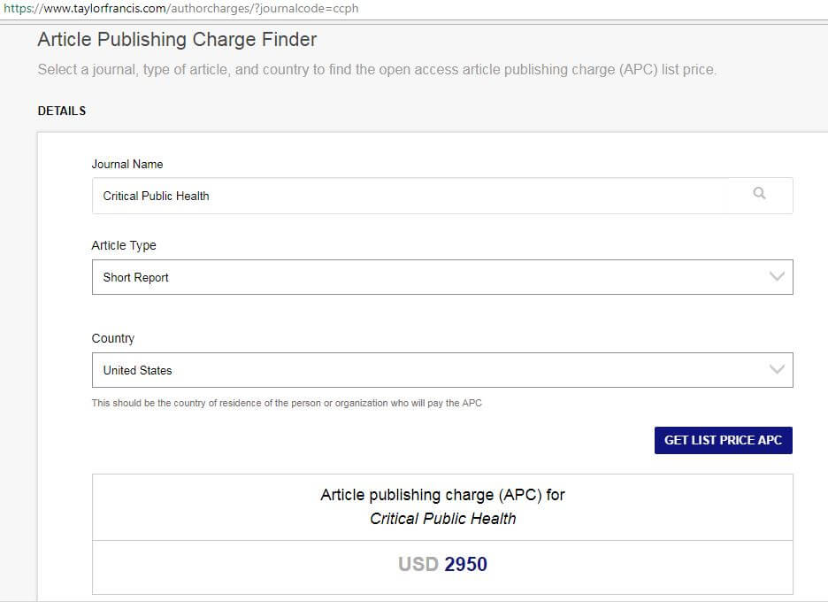 Critical Public Health charge finder
