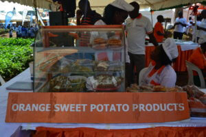 Orange fleshed sweet potato products on display