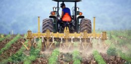 Farmer and tractor tilling soil