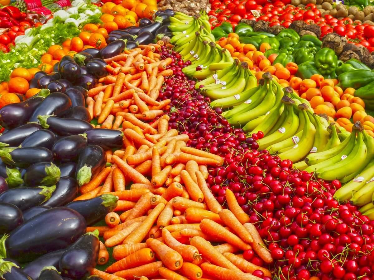 greengrocers fruit banana bananas shop carrots eggplant cherries jpgd