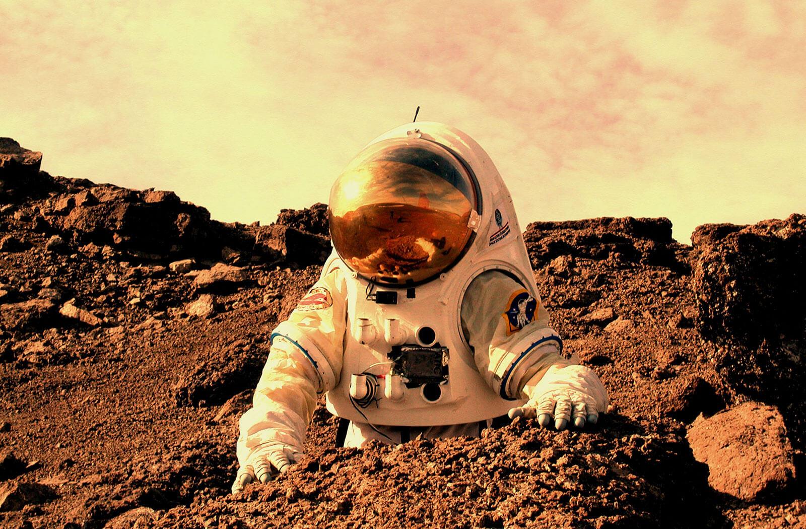 Astronaut working on Mars