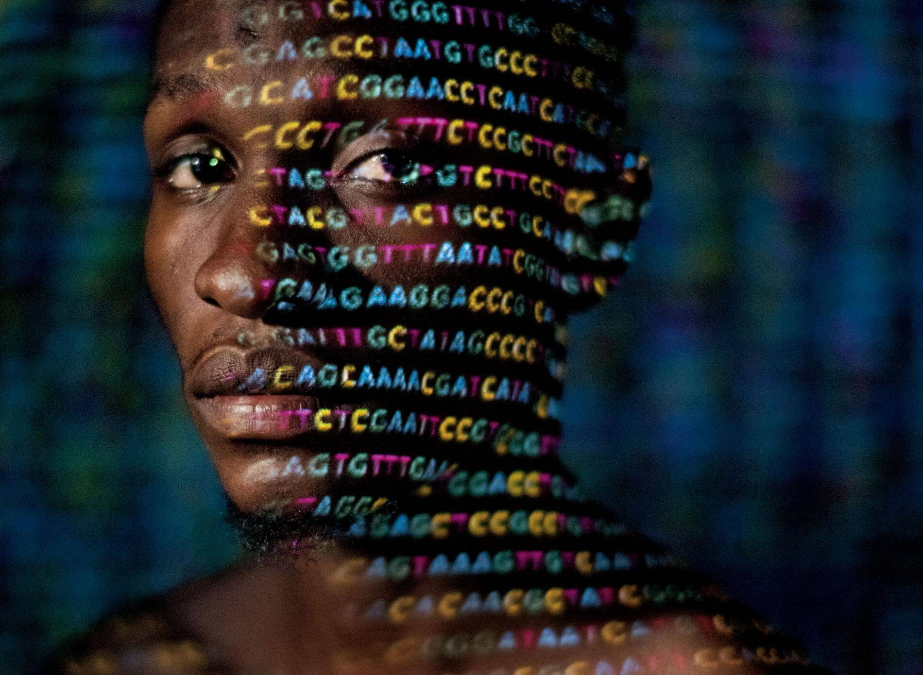 genetics code projected face african man crop adapt