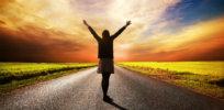longevity happy woman standing hands on long road x