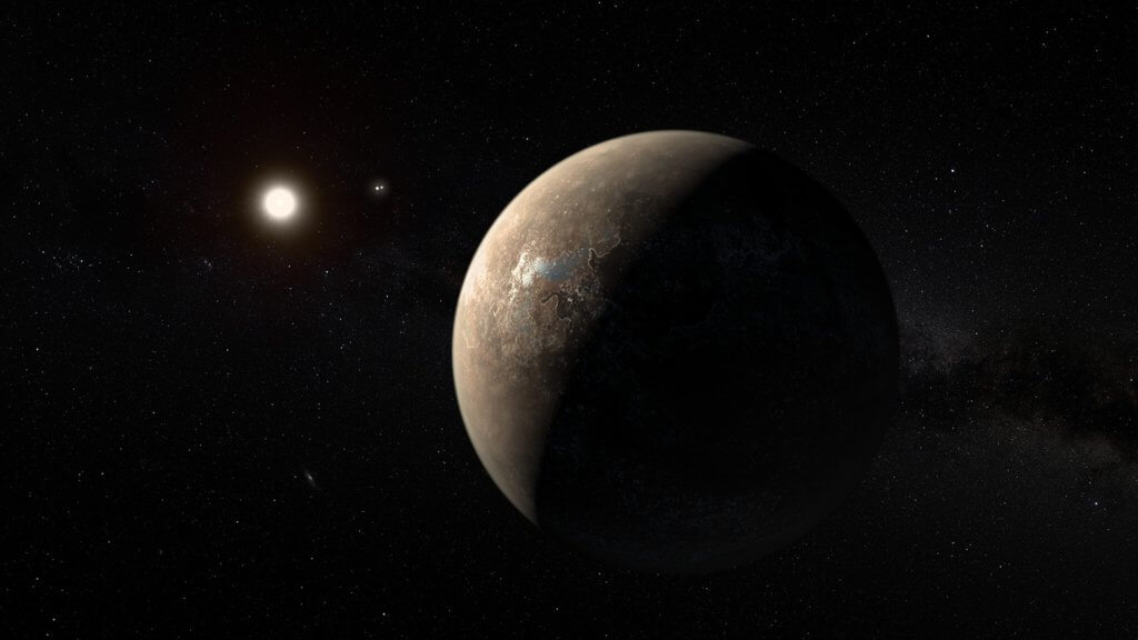 artist's impression of proxima centauri b shown hypothetically as an arid rocky super earth