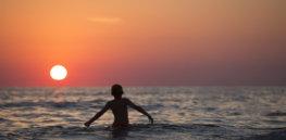 beach boy child dawn dusk horizon kid leisure