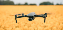 drone over a field