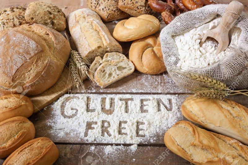 a gluten free breads on wood background Stock Photo bread gluten food