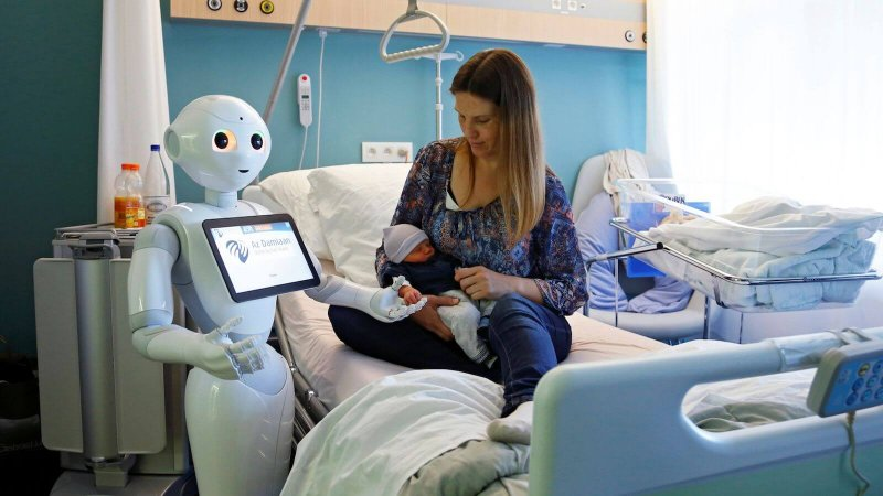 robot helping baby