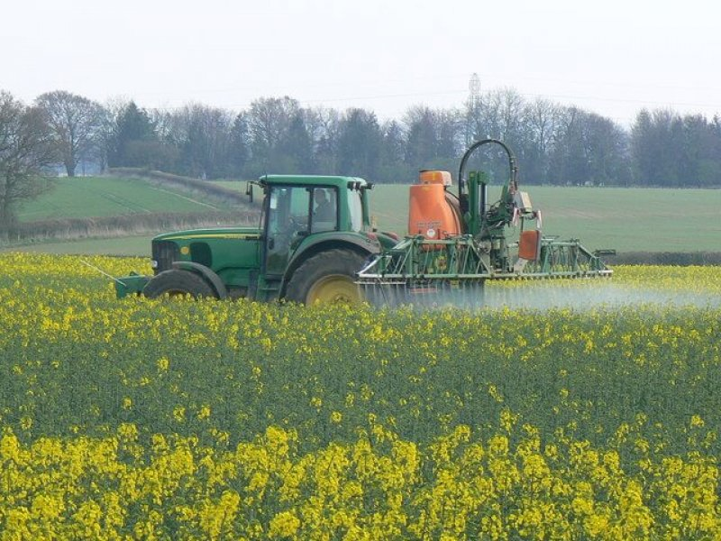 Crop spraying near St Mary Bourne geograph org uk