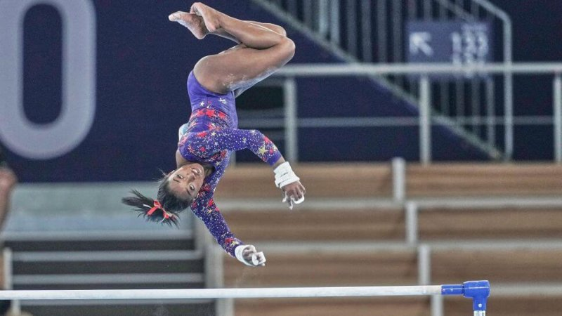 Simone Biles during women's qualification for the Artistic Gymnastics final at the 2021 Olympics. Credit: Ulrik Pedersen/NurPhoto/Getty Images