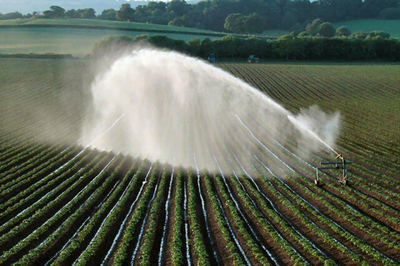 Irrigating fields SW of Killerton Estate NT geograph org uk