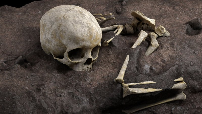 This virtual reconstruction shows the original position of Mtoto's bones in a Kenyan grave dug around 78,300 years ago. Credit: Jorge Gonzáles/Elena Santos