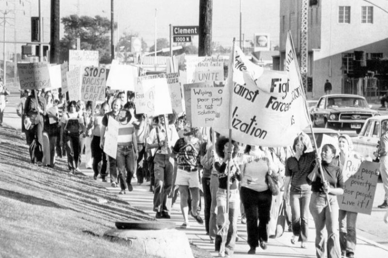 A 1974 protest against forced sterilization in Los Angeles. Credit: Los Angeles Times