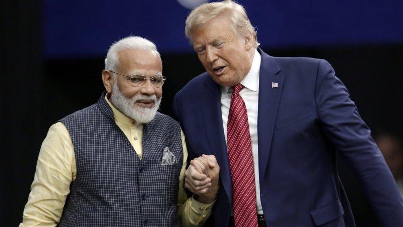 Prime Minister Narendra Modi and President Donald Trump shake hands. Credit: Michael Wyke/AP