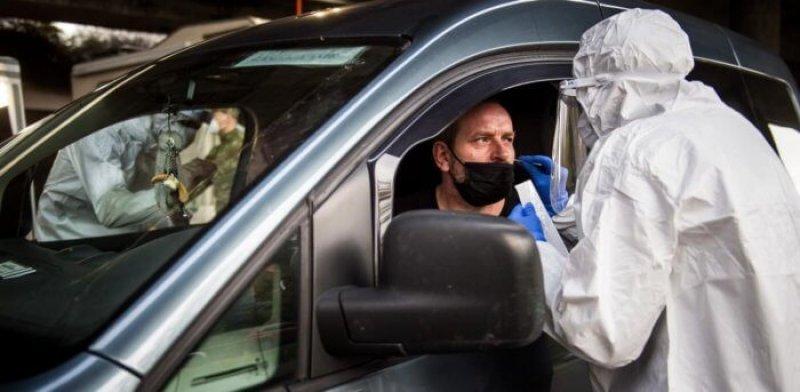 Outdoor drive-through testing site in Bratislava, Slovakia. Credit: AFP