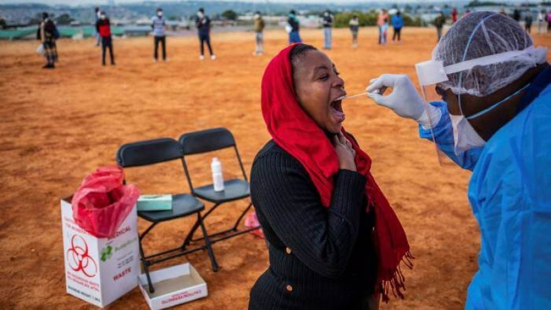 A woman is tested for Covid-19 in Johannesburg's Alexandra township. Credit: Kim Ludbrook/EPA/Shutterstock