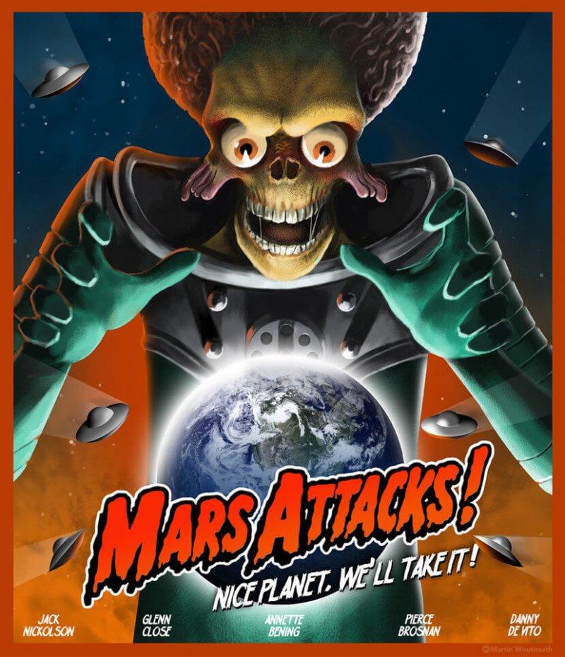 mars attacks alien car sticker
