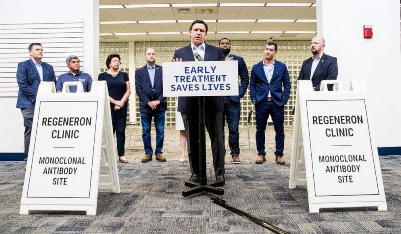 Florida Gov. Ron DeSantis held a press conference announcing a monoclonal antibody site. Credit: Andrew West/The News-Press