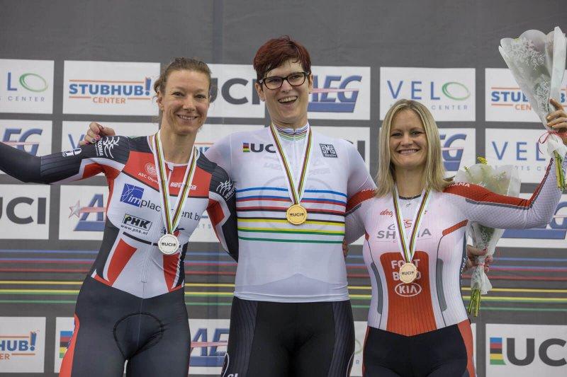 Dr Rachel McKinnon (center) became the first transgender track world champion. Credit: McKinnon