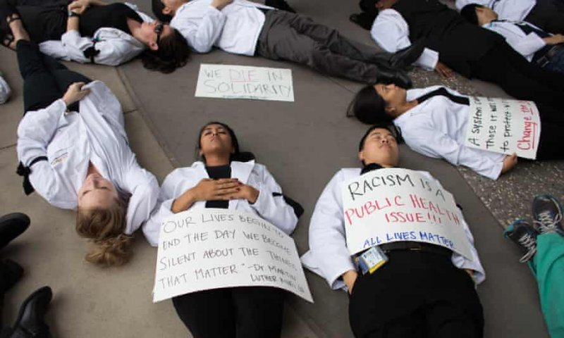 'White Coats for Black Lives' protest. Credit: The Guardian