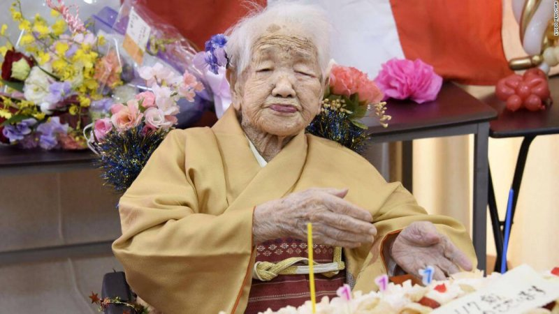 Kane Tanaka, the oldest documented person alive at 118 years old. Credit: CNN