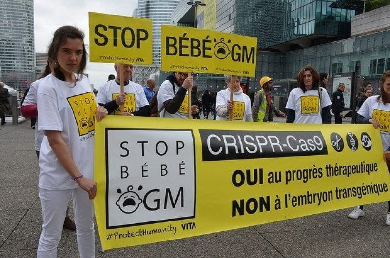 French group protests against CRISPR. Credit: Alliance Vita