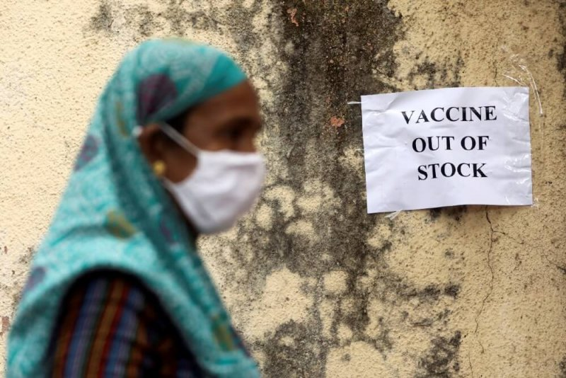 Outside a vaccination center in Mumbai. Credit: Reuters