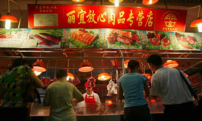 Pork for sale at a meat market in Guangzhou. Credit: China Photos/Getty Images