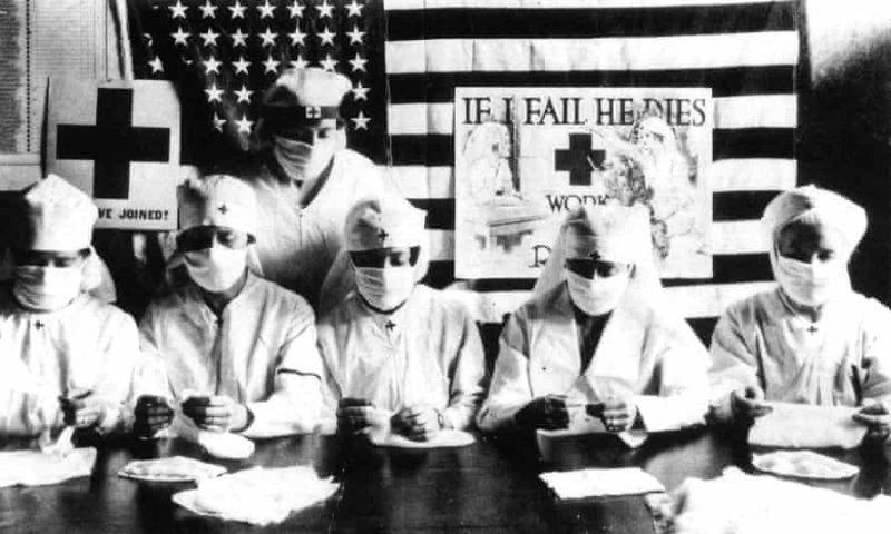 Red Cross volunteers fighting the Spanish flu pandemic in the US in 1918. Credit: Apic/Getty Images